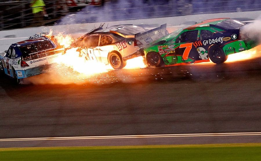 Danica Patrick's car crash scene from 2011