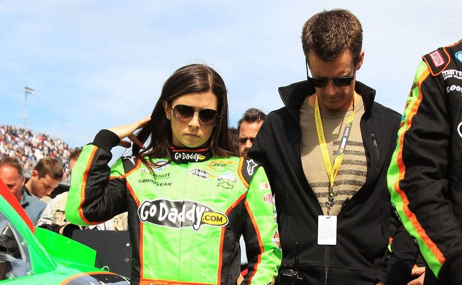 Danica Patrick and Paul walking on the racetrack