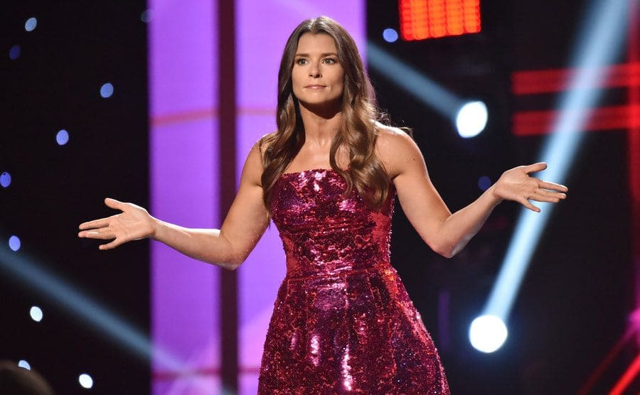 Danica Patrick speaking on stage at the ESPYS