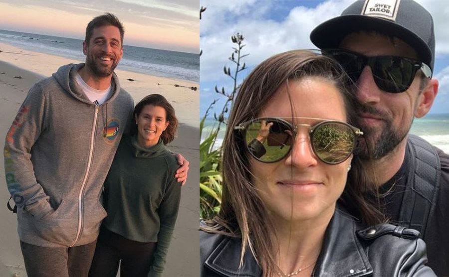Aaron and Danica posing on the beach / Danica and Aaron taking a selfie on the beach in New Zealand