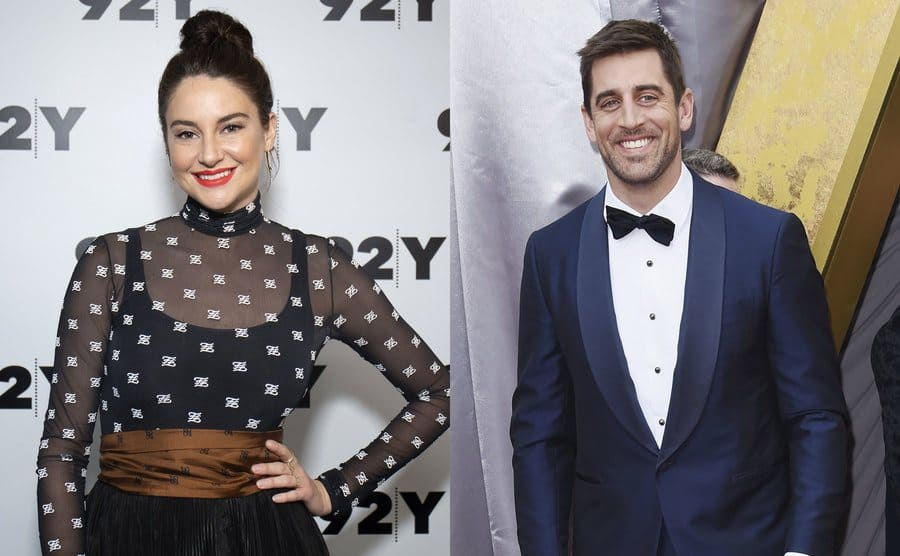 Shailene Woodley posing on the red carpet / Aaron Rodgers posing on the red carpet
