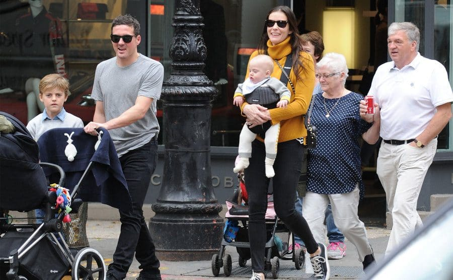 Liv Tyler, David Gardner, Milo William Langdon and baby Sailor Gene Gardner are seen on October 29, 2015 in New York City.