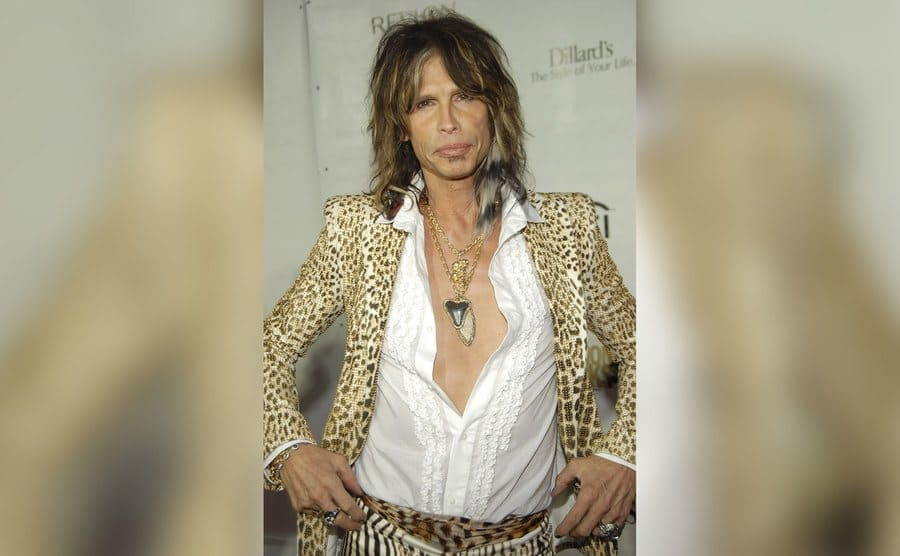 Musician Steven Tyler arrives at Conde Nast Media Group's 4th Annual Fashion Rock in a leopard print coat.