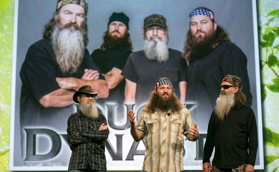 Television personalities Si Robertson, Willie Robertson, and Phil Robertson from A&E Television Networks LLC's Duck Dynasty television show speak at the National Cable and Telecommunications Association