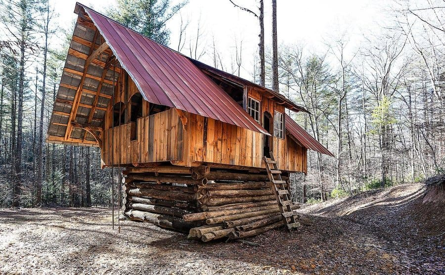 One of the hand-built cabins at The Turtle Island Preserve.