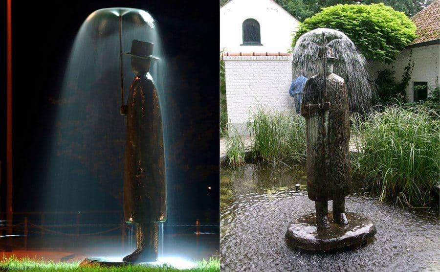 """""""Rain Man"""" escultura de hombre en la lluvia, por Jean-Michel, Italia"""