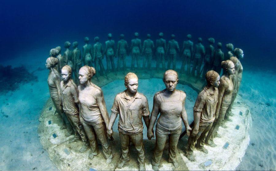 Esculturas Submariana en el Underwater Sculpture Park, Granada.