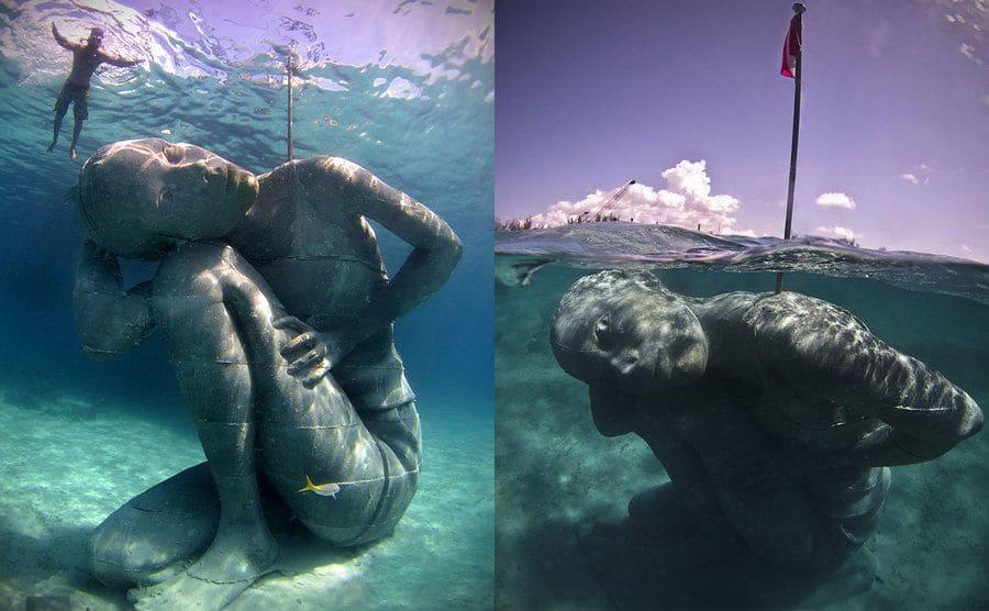 """""""Ocean Atlas"""" Masiva estatua submarina de una mujer que parece llevar el peso del océano sobre sus hombros"""