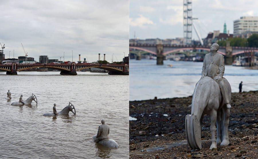 Cuatro esculturas de caballos y sus jinetes sumergidas en parte por el río / Detalle de caballo y su jinete a orillas del río