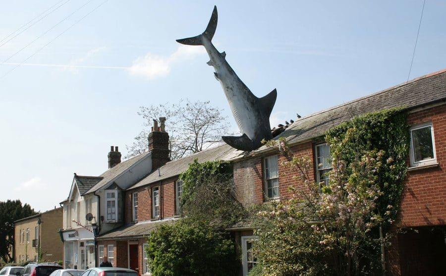 Imagen de una escultura en forma de tiburón, incrustado en el techo de una casa