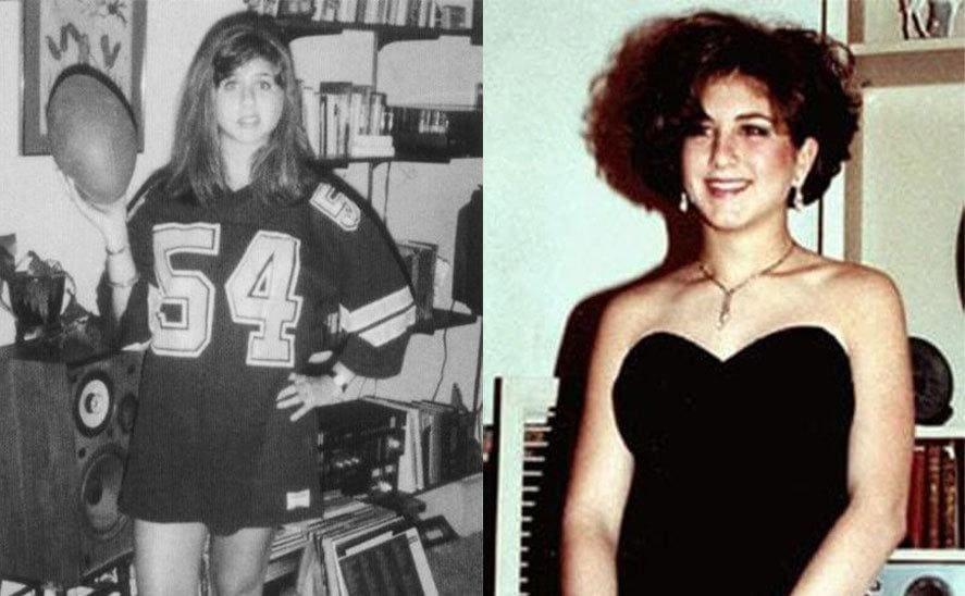 Jennifer Aniston dressed for prom / Jennifer Aniston wearing a football jersey