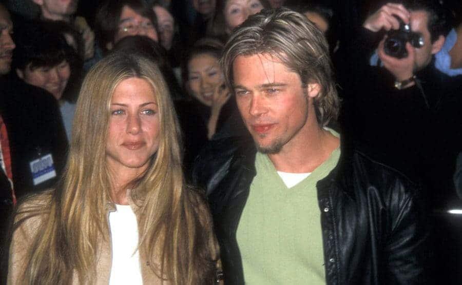 Jennifer Aniston and Brad Pitt on the red carpet circa 1998