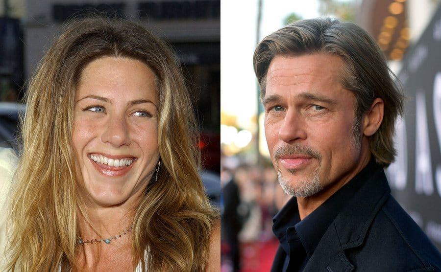 Jennifer Aniston smiling on the red carpet / Brad Pitt on the red carpet