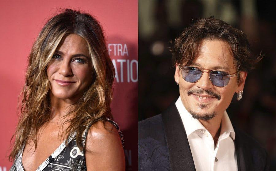 Jennifer Aniston on the red carpet / Johnny Depp on the red carpet