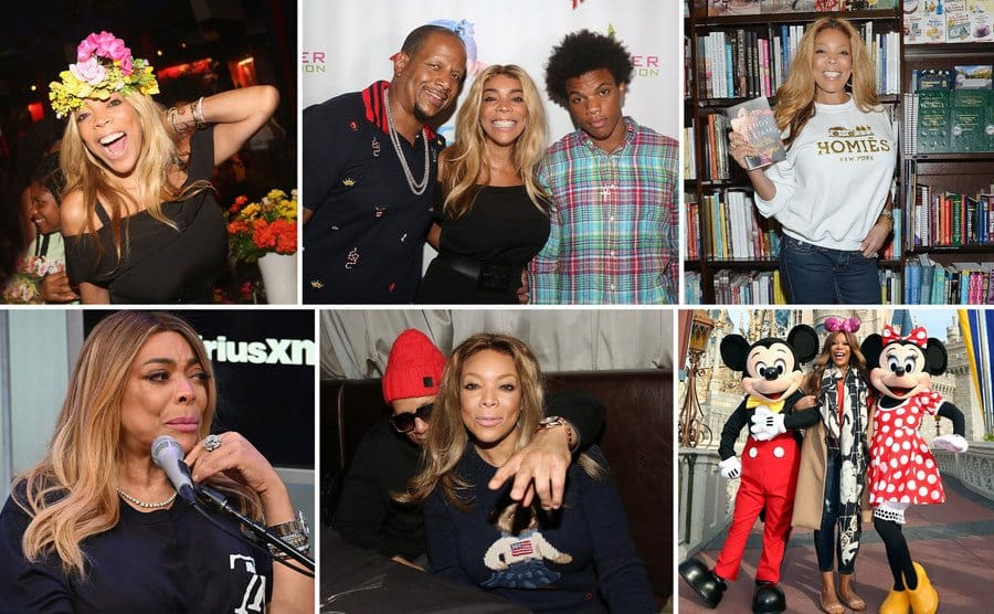 Wendy Williams posing excitedly at a celebration with a flower wreath around her head / Wendy, Kevin, and Kevin Jr posing together on the red carpet / Wendy Williams holding up her book in a book store in front of the shelves / Wendy Williams crying during an interview / Kevin and Wendy Williams sitting together in a booth during an event / Wendy Williams posing with Mickey and Minnie Mouse