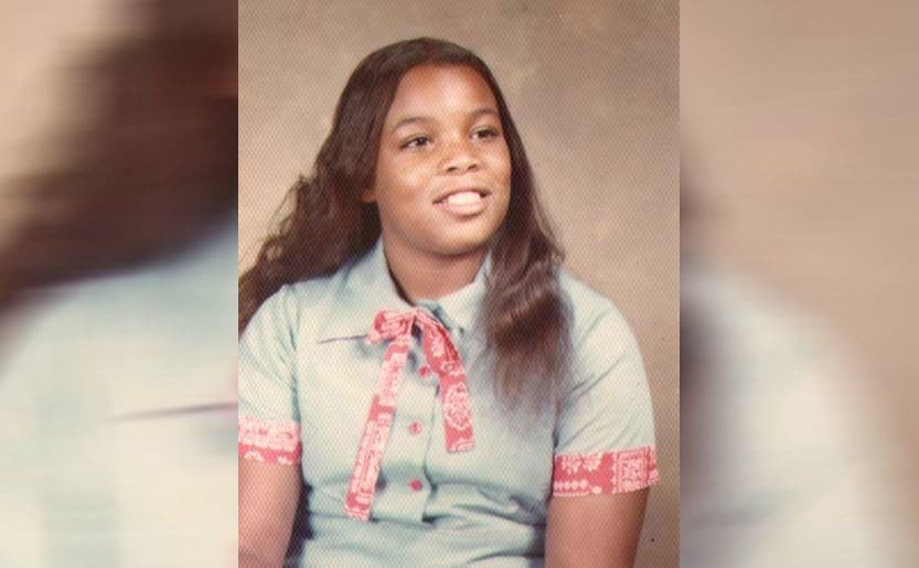 Wendy Williams as a teenager in a school portrait