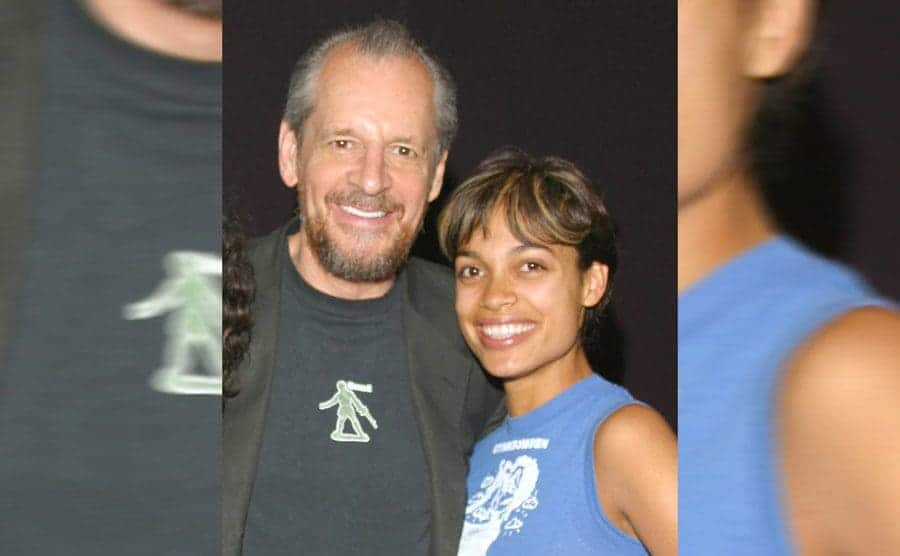 Larry Clark and Rosario Dawson on the red carpet in 2003
