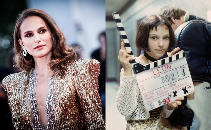 Natalie Portman on the red carpet / Natalie Portman backstage on the set of Leon