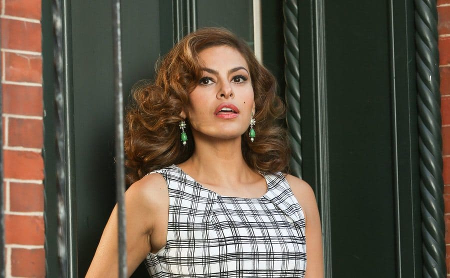 Eva Mendes photographed during the filming of a commercial in NYC