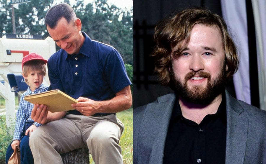 Tom Hanks reading Haley Joel Osment a book in a scene from Forrest Gump / Haley Joel Osment on the red carpet in 2015