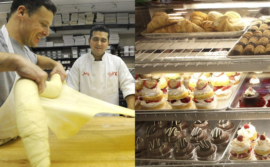 Joe Faugno making dough in the back of the Cake Boss bakery / The baked goods on display with lobster tails on the top shelf