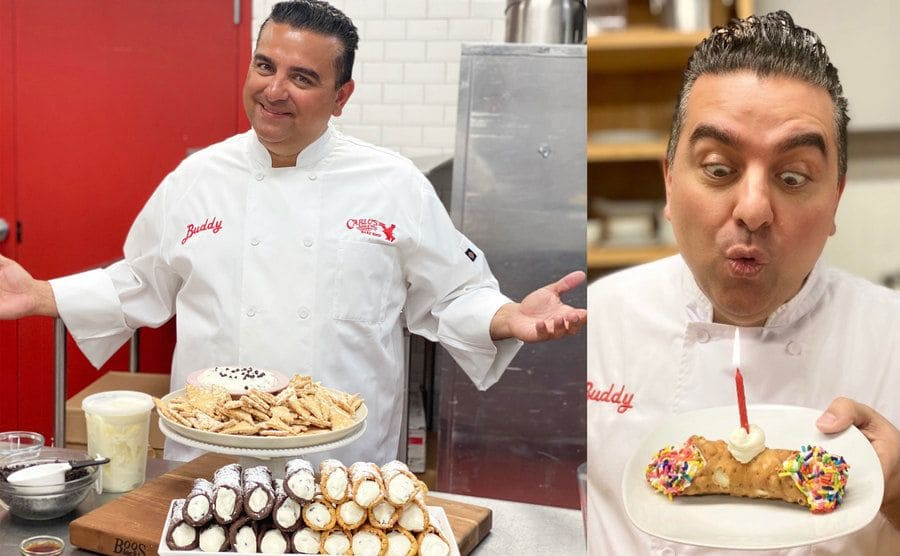 Buddy standing next to a plate of cannoli's and other pastries in the back kitchen / Buddy holding a birthday style cannoli blowing out the candle