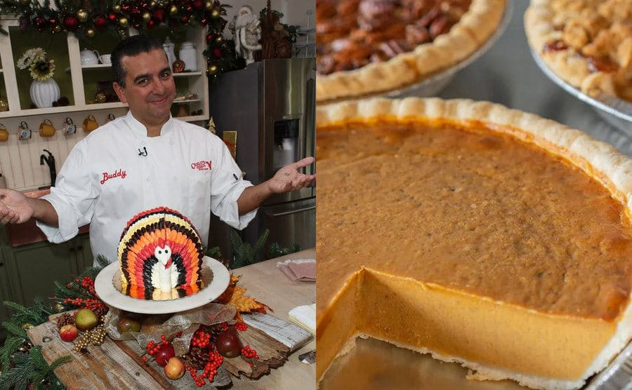 Buddy standing in front of a turkey cake / Buddy's pumpkin pie with others behind it
