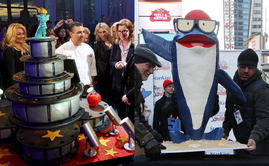 A Tribeca Film Festival cake / A Tuna cake in the shape of the starkest mascot