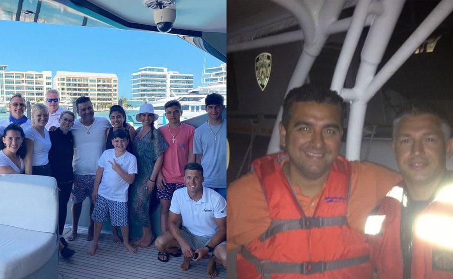 Buddy and his family posing on a boat / Buddy with an office on the boat after being rescued