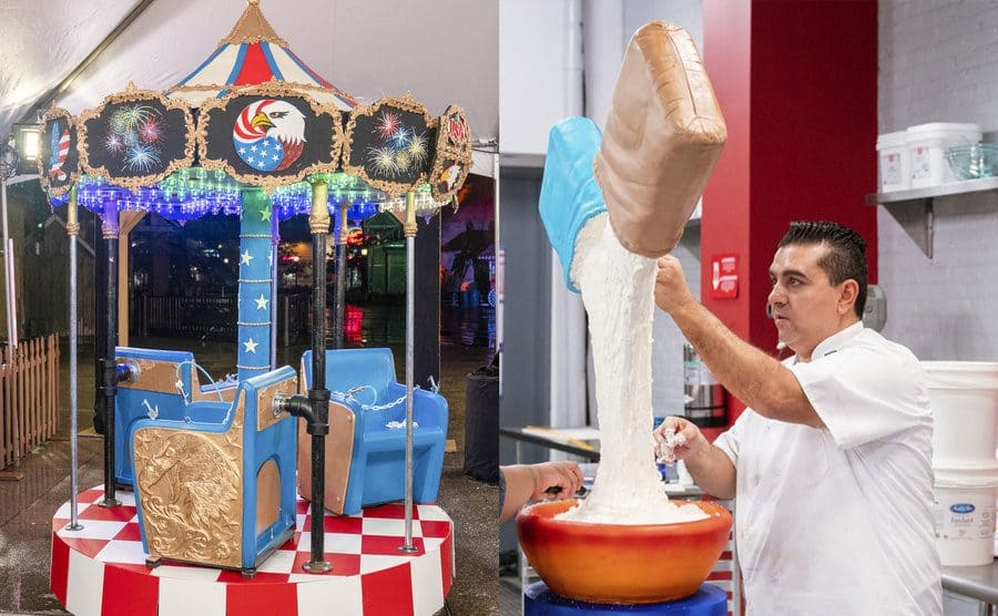 A carousel which works and is also a cake / Buddy and another woman working on a cake which looks like a bag of flour and sugar being poured into a bowl from above