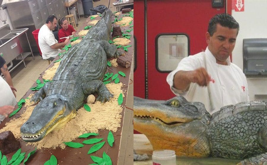 Kitchen staff working on the long alligator cake / Buddy Valastro working on the alligator's head