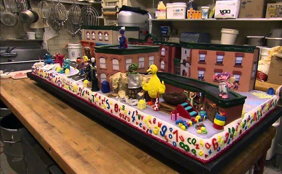 The sesame street cake sitting