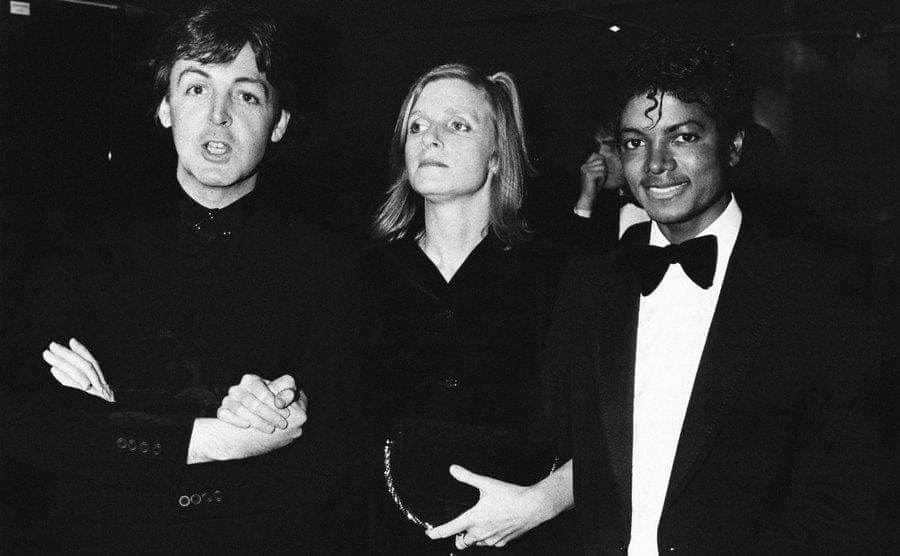 Paul McCartney, Linda McCartney, and Michael Jackson on the red carpet