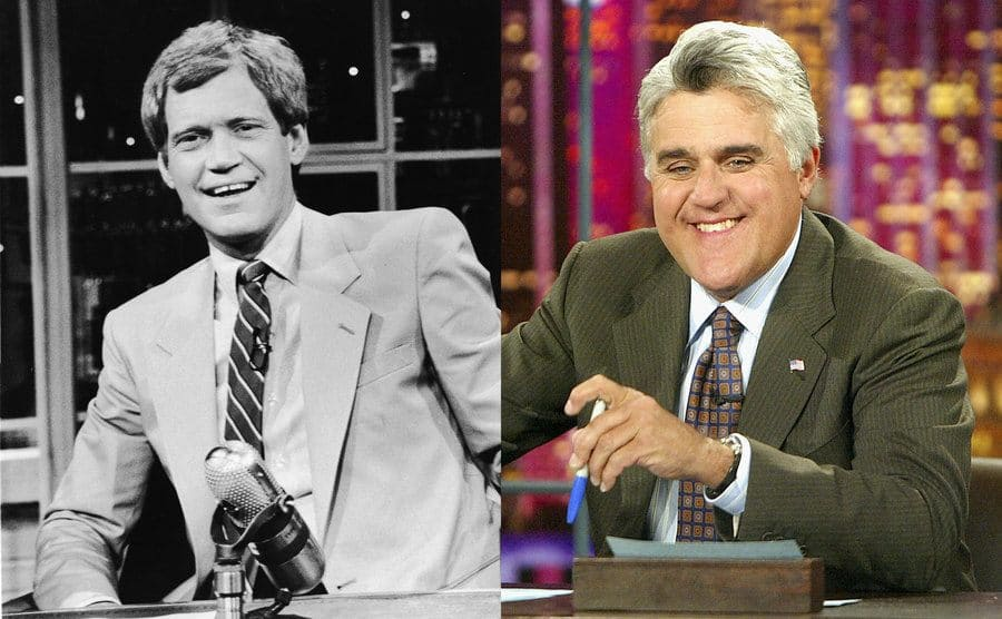 David Letterman behind his desk / Jay Leno behind his desk