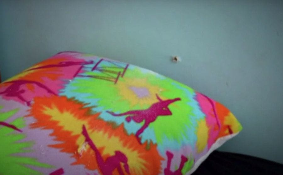 Bullet hole found in the wall of Emma's bedroom.