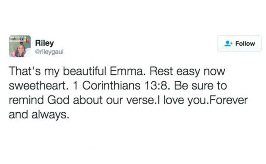 """Riley's tweet for Emma in which he says, """"Rest easy now, sweetheart. I love you forever and always."""""""