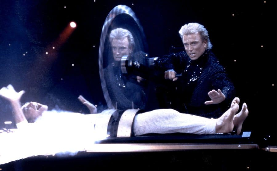 World-renowned illusionists and conservationists Siegfried and Roy perform at The Mirage.