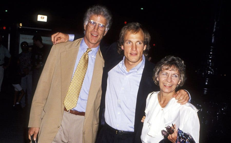Ted Danson, Woody Harrelson, and Dianne Harrelson pose for a photo.