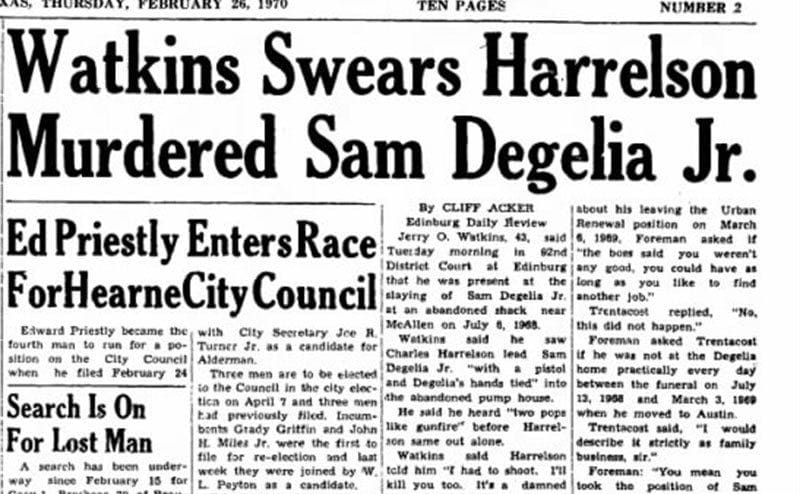 A newspaper clipping about the murder of Sam Degelia.