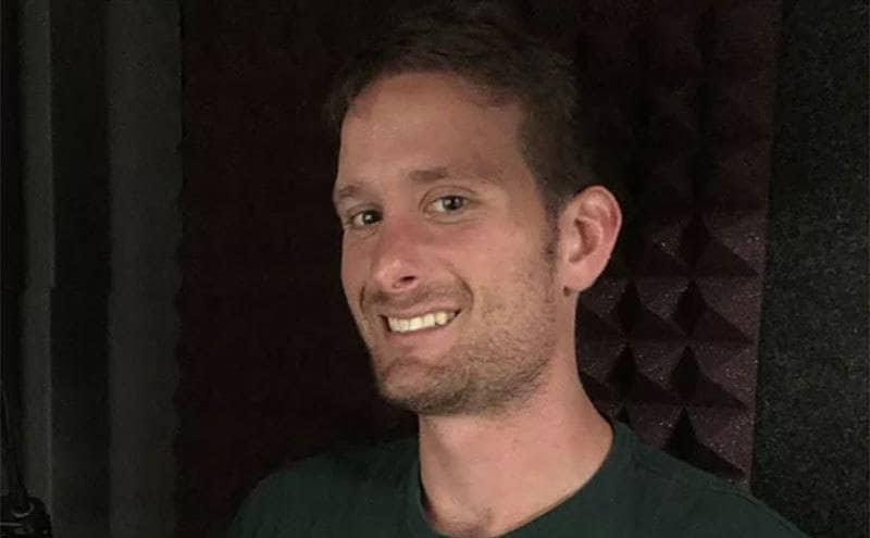 Jordan Harrelson takes a selfie in a recording studio.