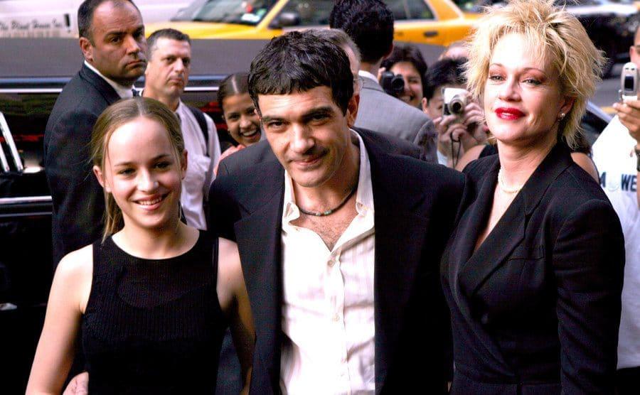 Dakota Johnson, Antonio Banderas, and Melanie Griffith on the red carpet