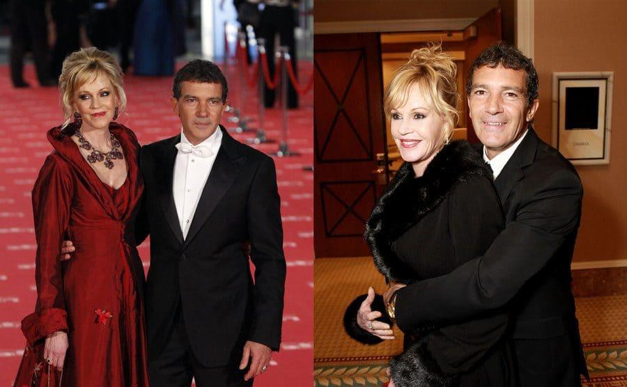 Melanie Griffith and Antonio on the red carpet / Melanie and Antonio hugging