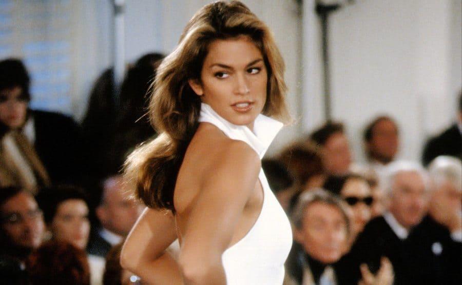 Cindy Crawford models Ralph Lauren during New York Fashion Week.