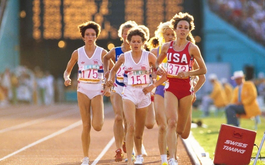 Mary Decker #373 of the United States, Zola Budd #151 of Great Britain