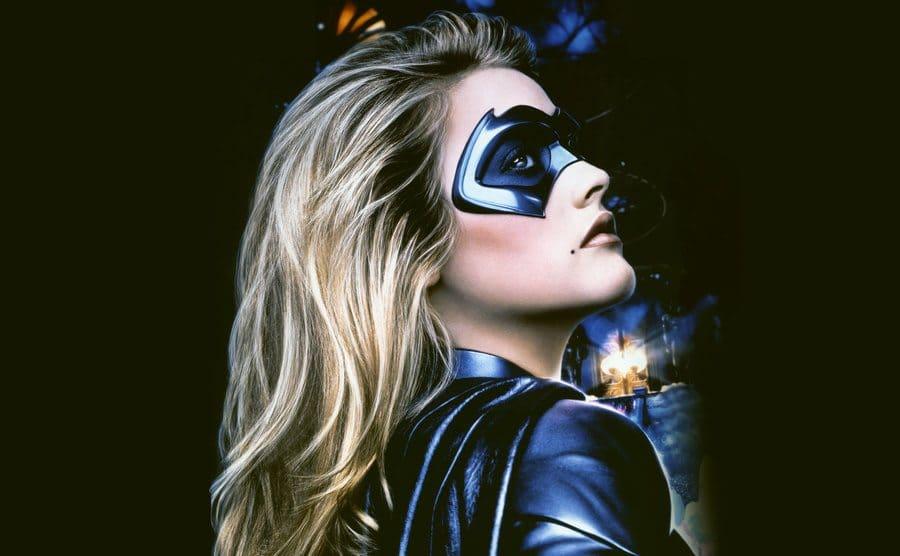 Alicia Silverstone dressed as Batgirl on the set of Batman & Robin.