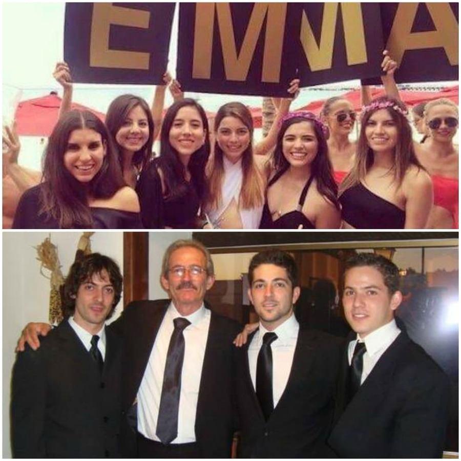 Emilia junto a sus amigas / Pablo junto a su familia.