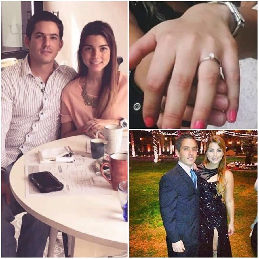 Pablo y Emilia / Mano de Emilia con anillo de compromiso / Pablo y Emilia en una fiesta
