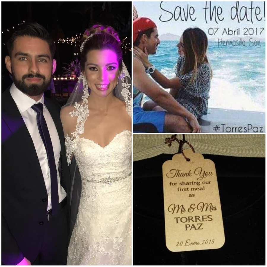 Pablo Y Emilia en su boda / Invitación impresa / Etiqueta de agradecimiento para los invitados.
