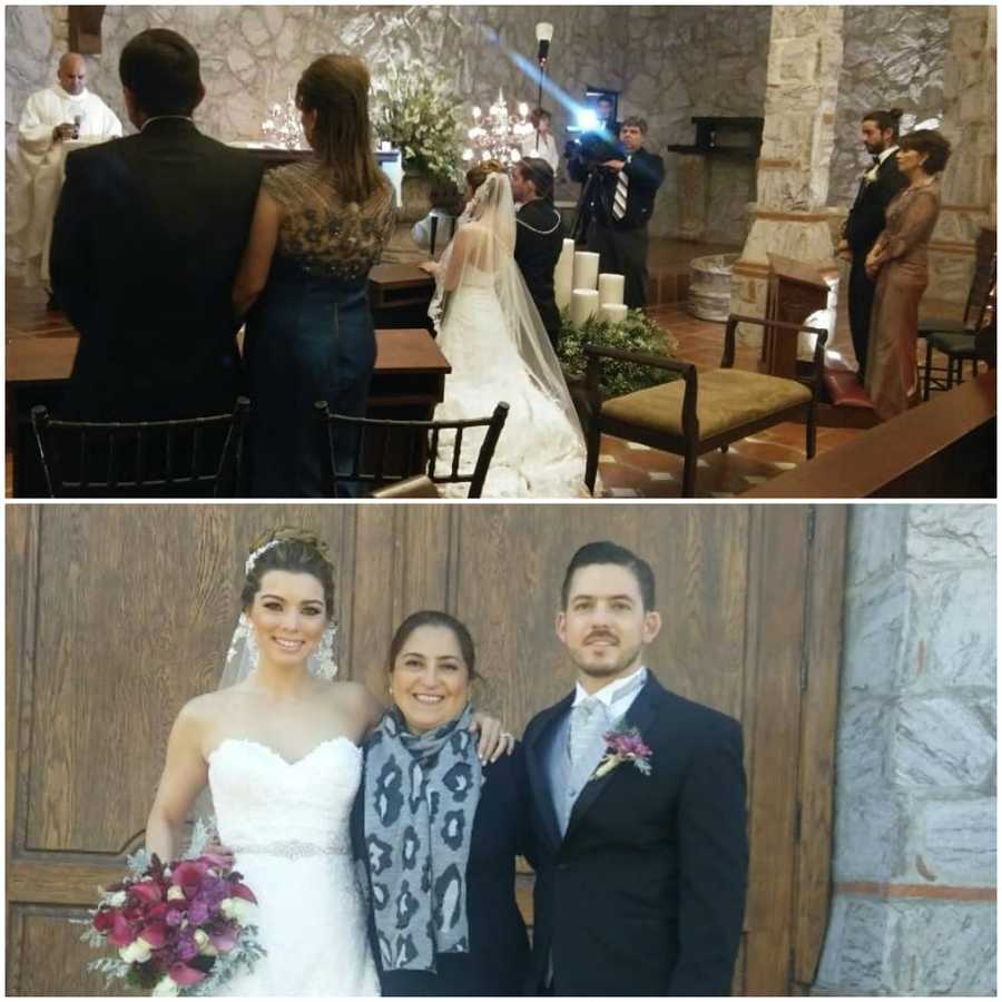 Novios e invitados en la Iglesia / Novios y madre de Emilia a la salida de la Iglesia.