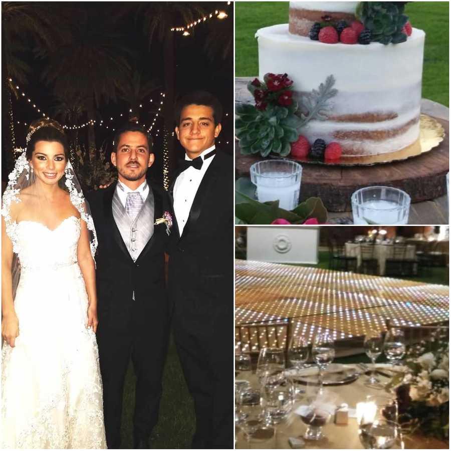 Novios y hermano del novio / Pastel de boda / Mesa de boda.